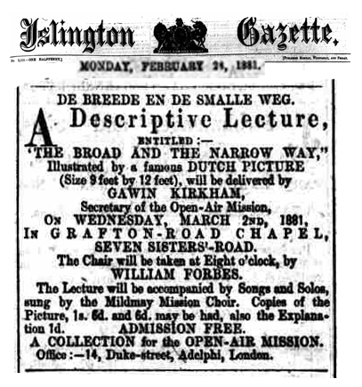 Victorian Advertisement for Lecture on the e Broad and the Narrow Way picture