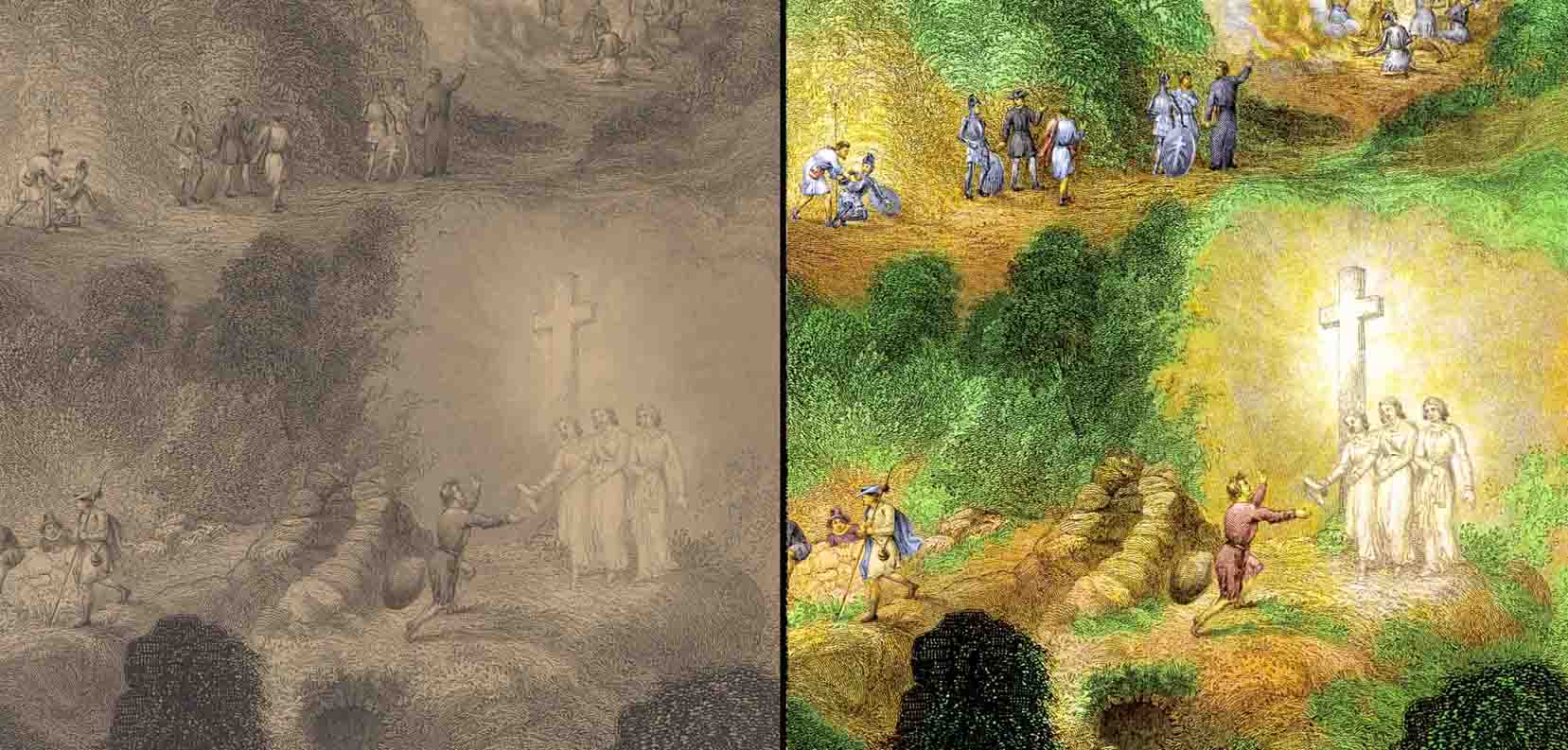 """efore and after colourisation of scenes from engraving """"Bunyan's Pilgrim"""""""