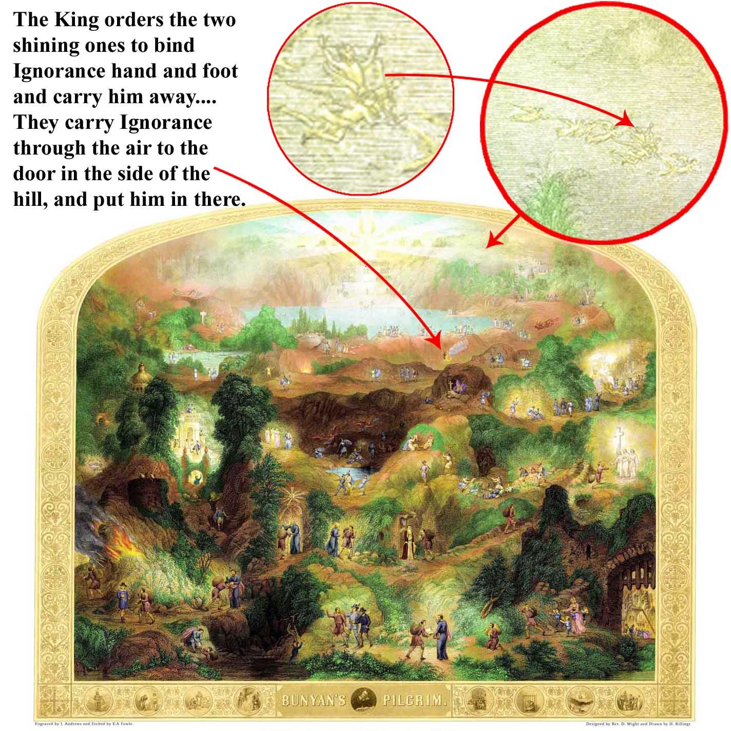 "Detail of scenes from engraving ""Bunyan's Pilgrim"""