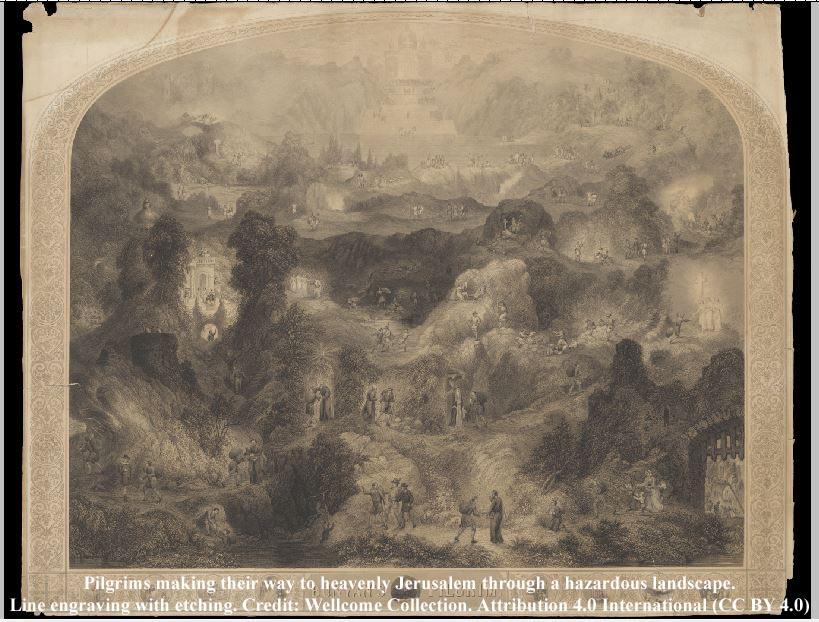 Photo of engraving before restoration of colourised Pilgrims progress picture