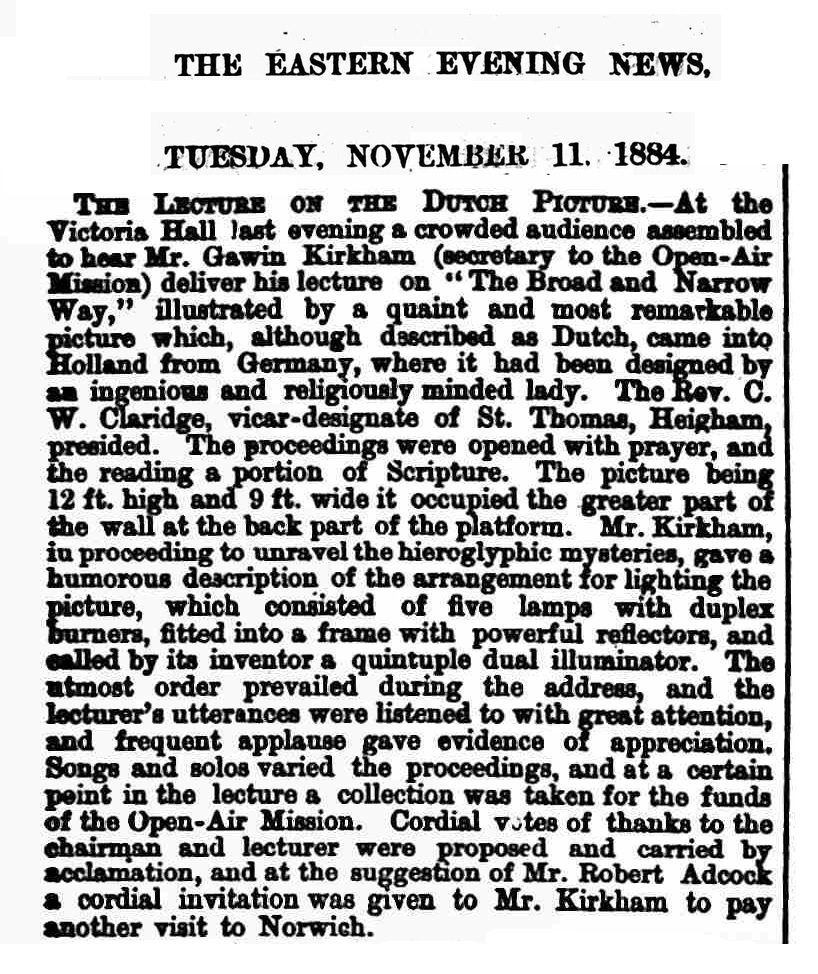 THE EASTERN EVENING NEWS. NOVEMBER 1884